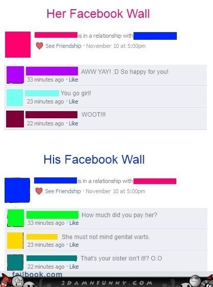 girls vs boys relationship status facebook MEMEs
