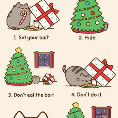 Christmas Pusheen.Cat Attempts To Catch A Santa On Christmas Pusheen Comics