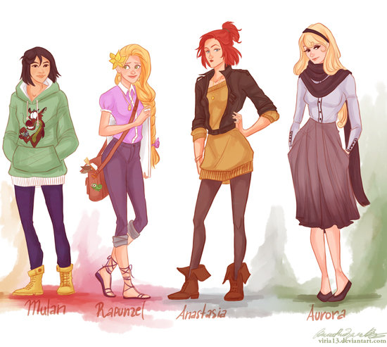 Modern Princesses Mulan Rapunzel Anastasia Aurora