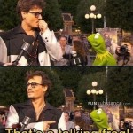 Johnny Depp Realizes His Talking To A Talking Frog