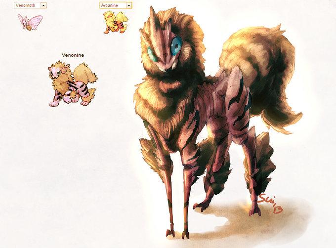 Venomoth & Arcanine Pokemon Fusion Artwork