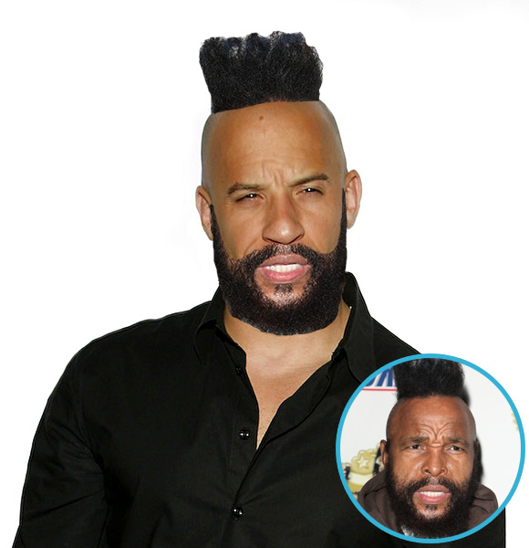 vin diesel with mr t hair meme. Black Bedroom Furniture Sets. Home Design Ideas
