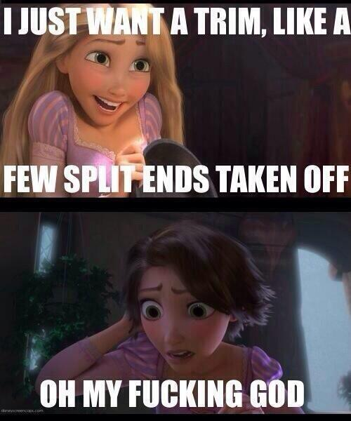 Haircut Girl Meme: Rapunzel Cuts Her Hair Short To Prevent Being So Tangled