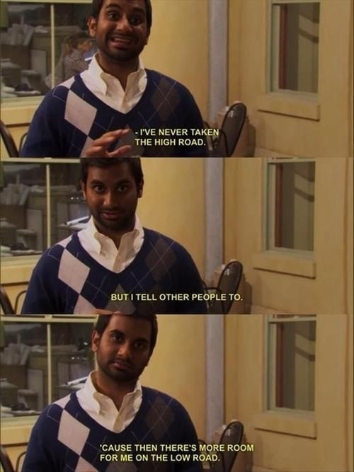 Aziz Ansari On Taking The High Road On Parks and Recreation aziz ansari on taking the high road on parks and recreation