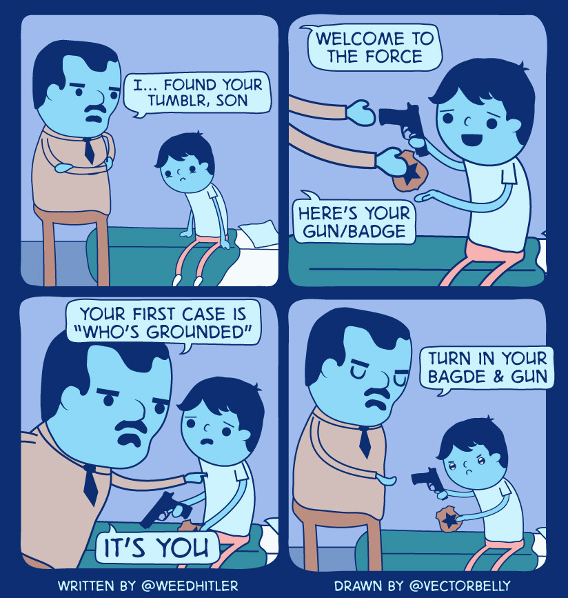 Dad Gives Son a Gun Badge For His First Case In Comic By Weedhitler dad gives son a gun & badge for his first case in comic by weedhitler