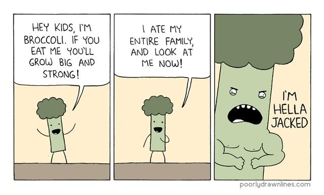 Hella Jacked Broccoli Inspires Kids To Become Big and Strong In Comic By Poorlydrawnlines hella jacked broccoli inspires kids to become big and strong in