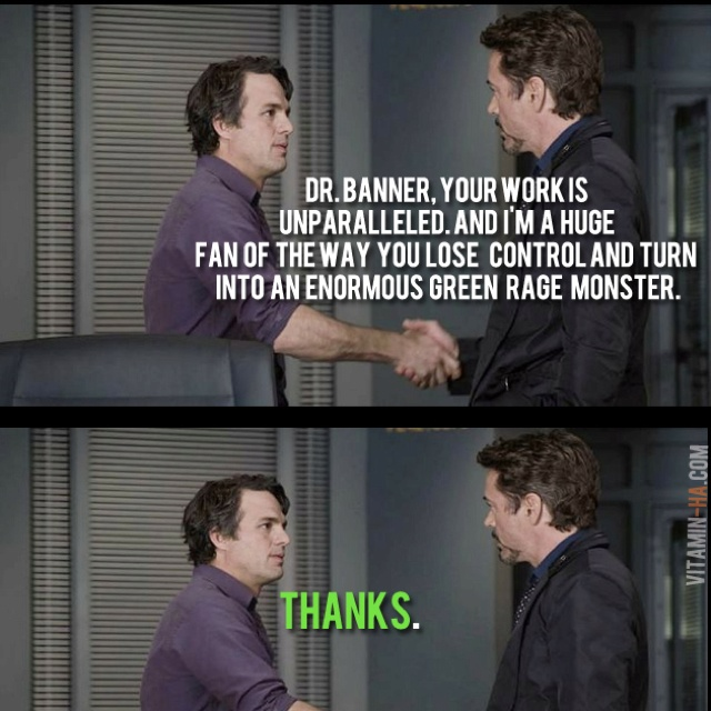 bruce banner amp tony stark meet in the avengers picture quote