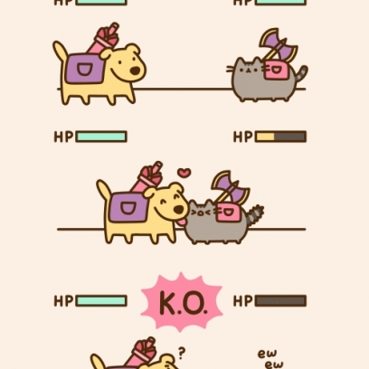 pusheen vs the almighty battle dog love was very effective