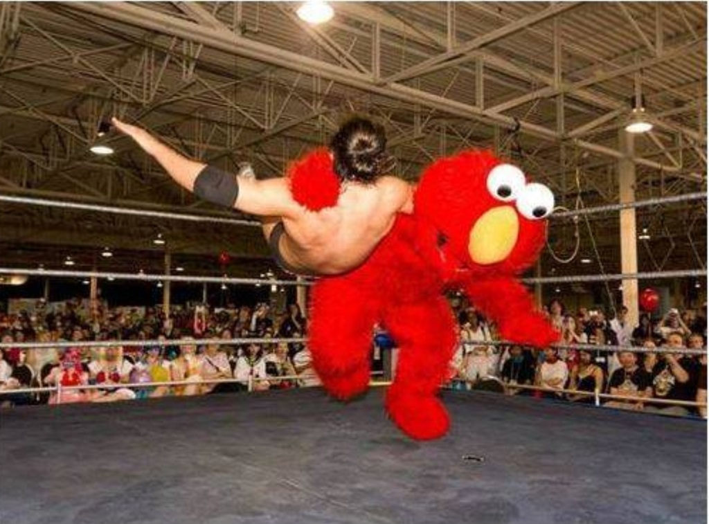 Tackle Me Elmo Gets Serious In The Wrestling Ring